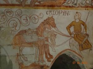 Galopin, le serviteur des rois mages se comporte comme un roi: bâton tenu comme un sceptre et jambes croisées mais les chevaux ne sont pas dupes